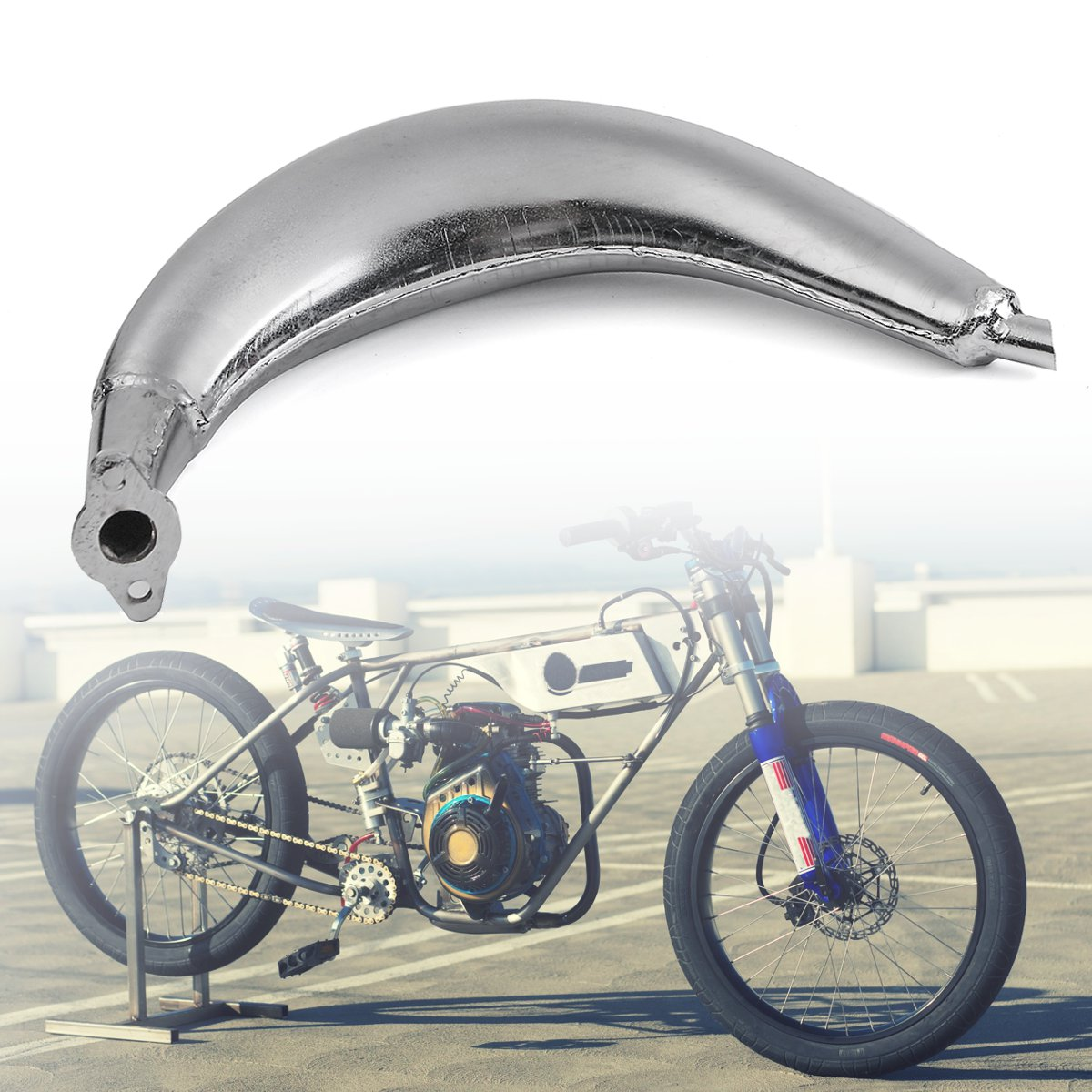 Chrome Muffler Exhaust Pipe For  80cc 66cc 49cc Motorized Bicycle Engine Bike Cyc  support wholesale retail