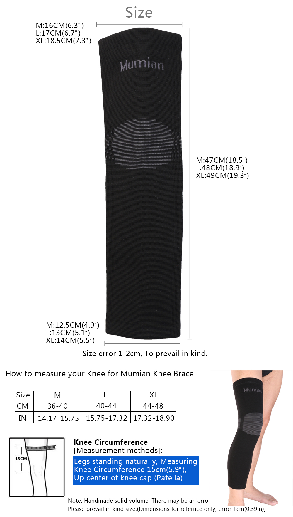 Mumian A06 Classic knitting Warm Sports Long Knee Pad Knee Brace Support Sleeve - 1PC