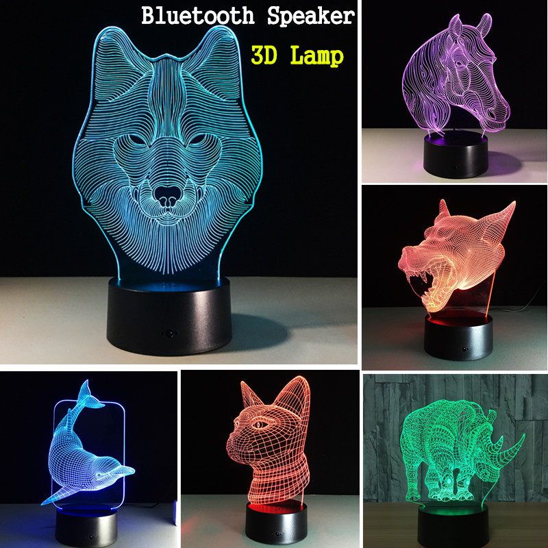 Colorful Festival Halloween LED 3D Illusion Lamp Night Light TF Card bluetooth Speaker