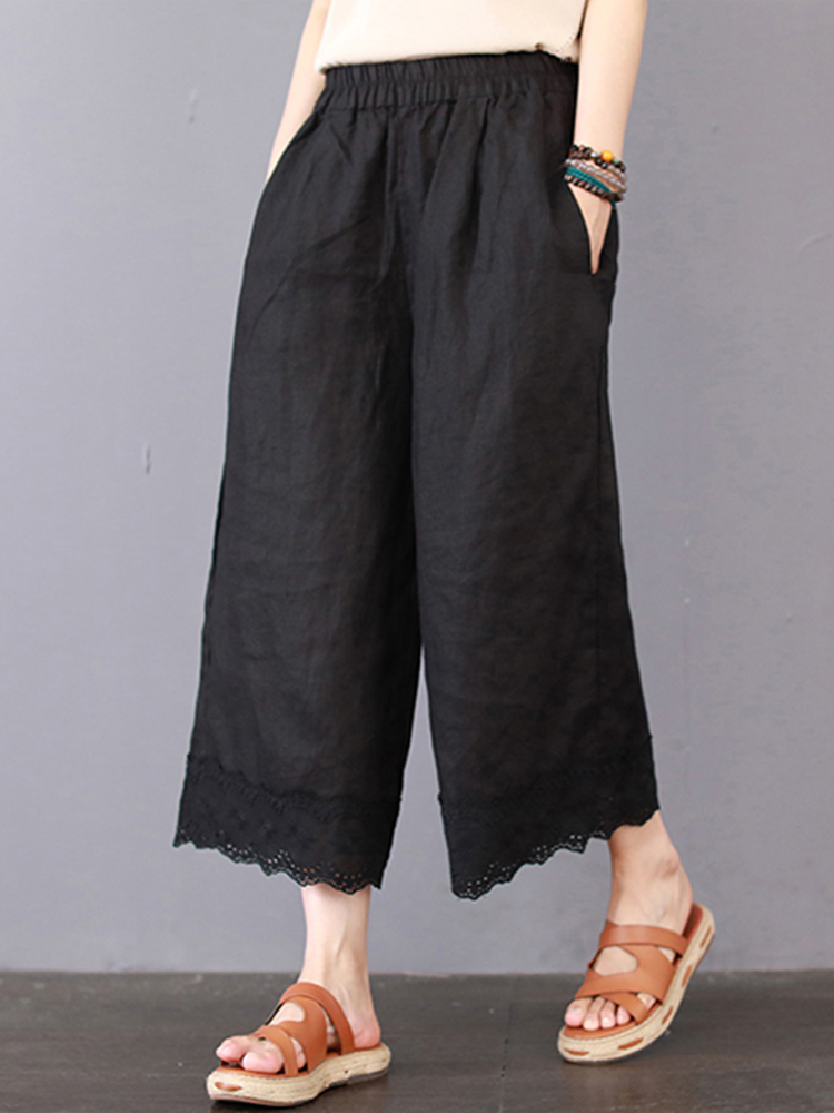Vintage Women Elastic Waist Wide Leg Lace Patchwork Pants