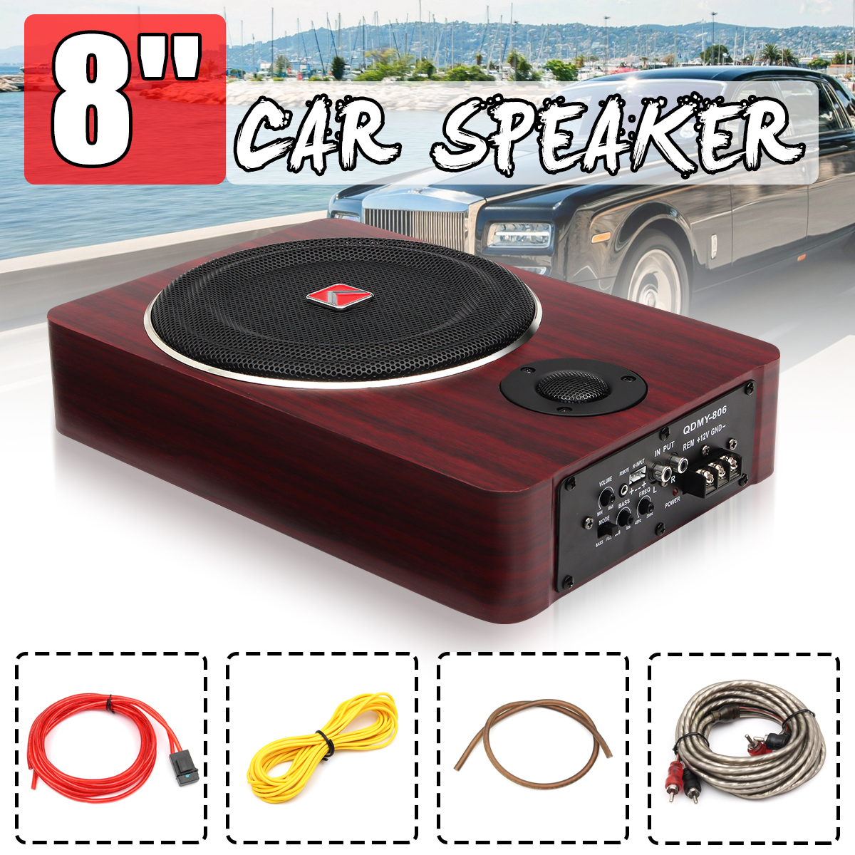600W 8 Inch Wooden Ultra-thin Car Stereo Subwoofer Car Audio Car Speaker