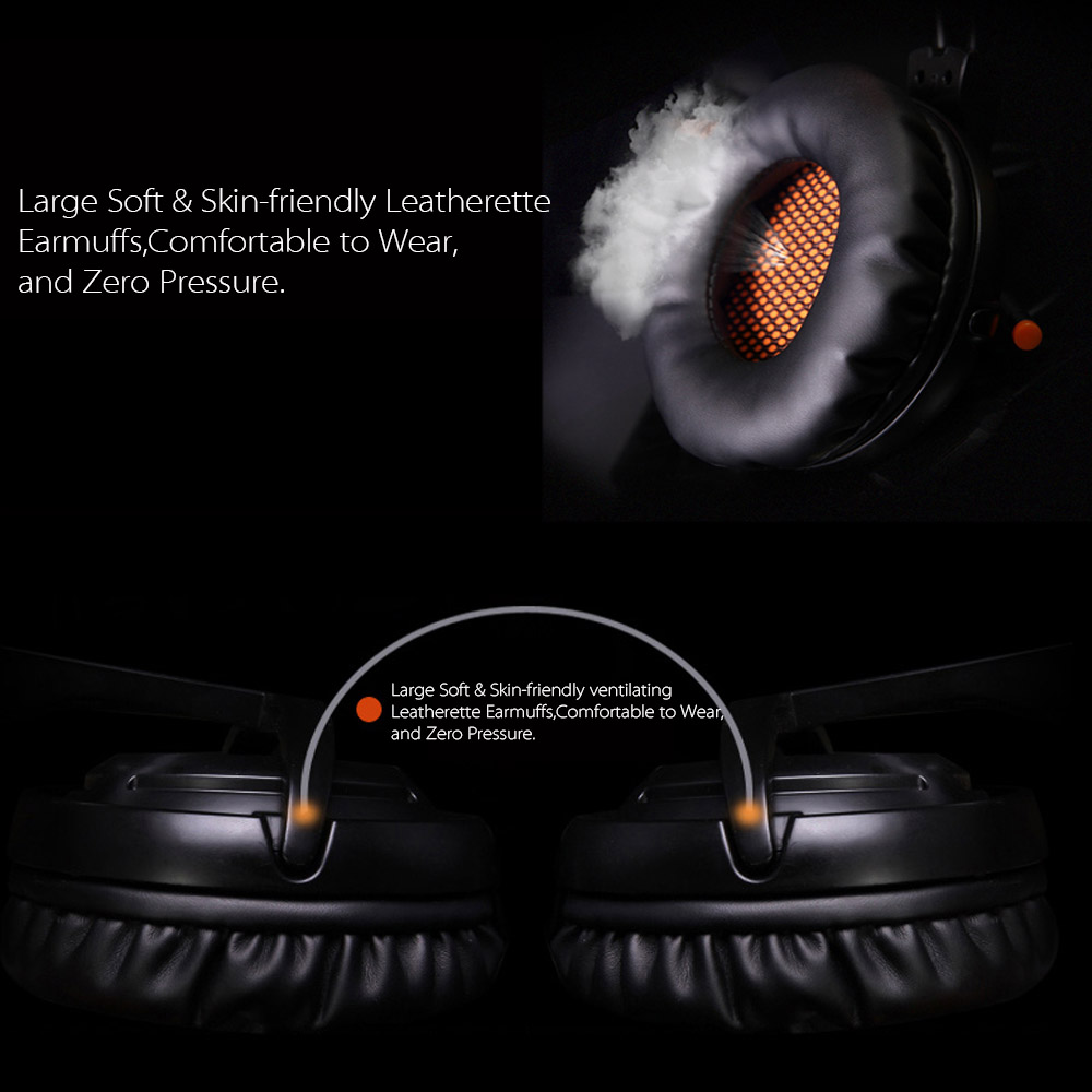 SADES A6 USB Gaming Headphone Professional Over Ear Game Headset 7.1 Surround Sound Microphone Mic