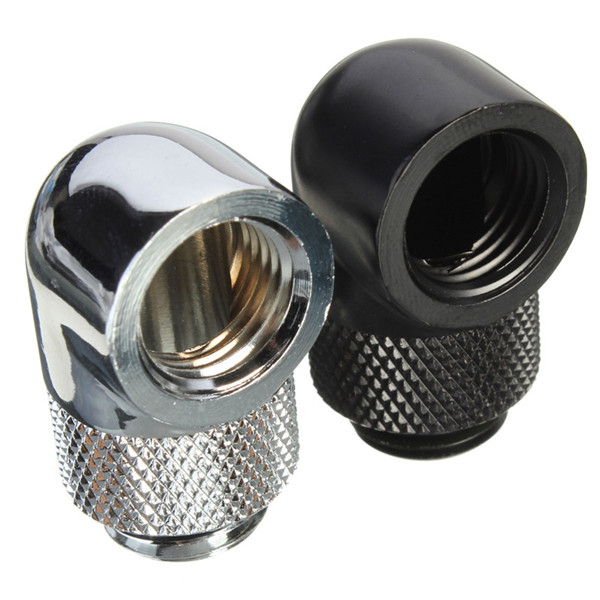 Water Cooling 90 Degree Angle G1/4 Thread Nozzle Rotary Fitting Matt Black/Silver