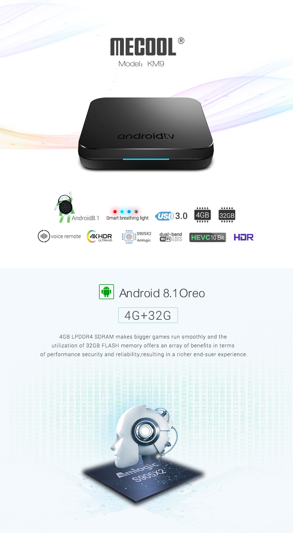 Mecool KM9 S905X2 4GB DDR4 RAM 32GB ROM Android 8.1 5G WIFI bluetooth 4.1 4K Voice Control TV Box