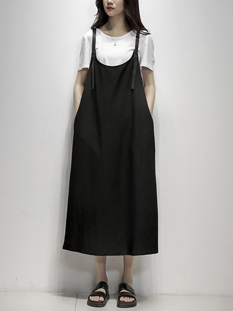 Women Casual Sleeveless Solid Color Pockets Loose Dress