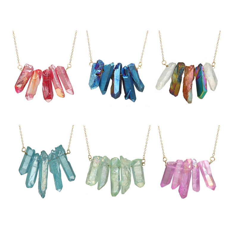 Colorful Cylinder Crystal Wome's Pendant Necklace