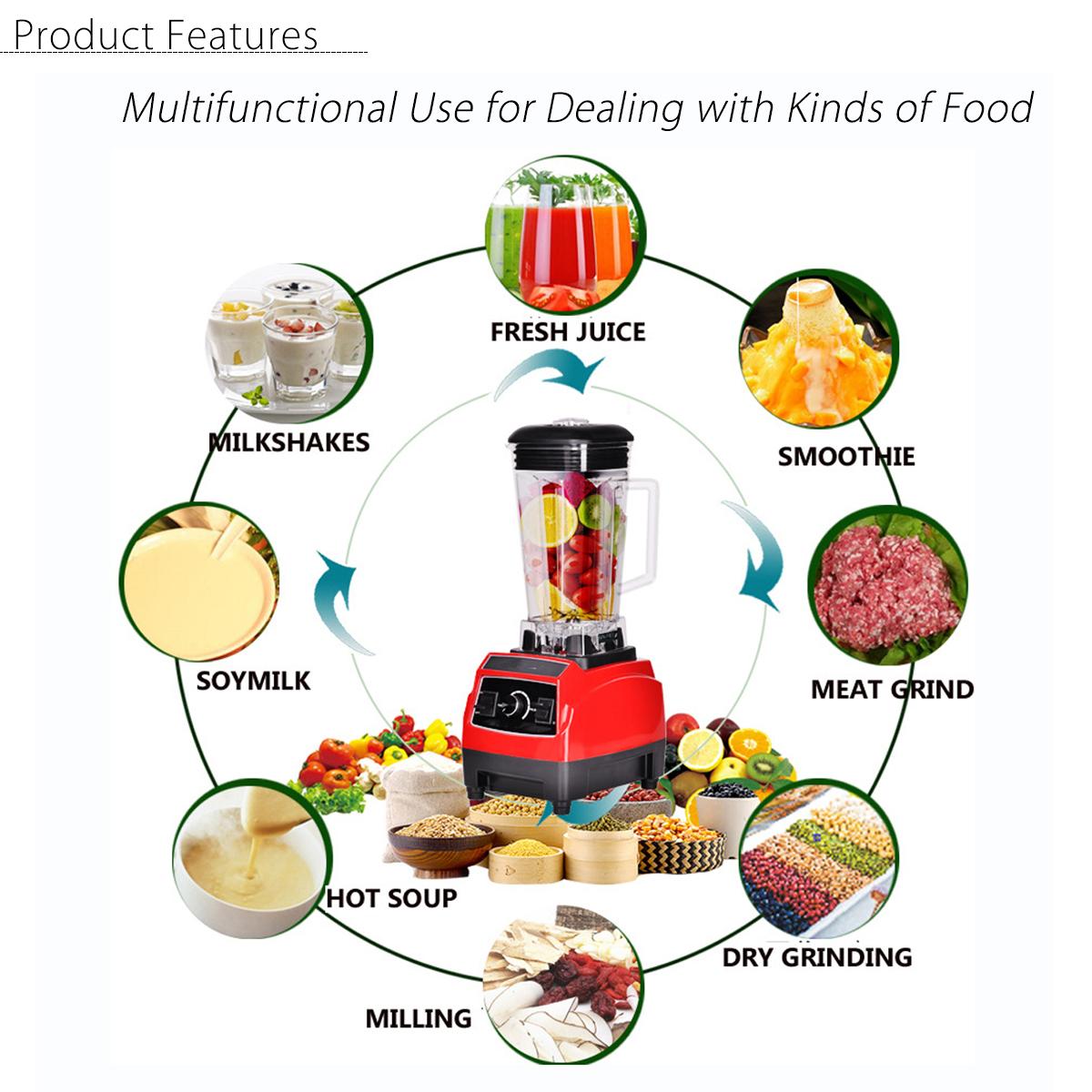 110-240V 2200W Mixer Blender Fruit Mix Juicer Smoothie Home Multifunctional Food Processor 2L