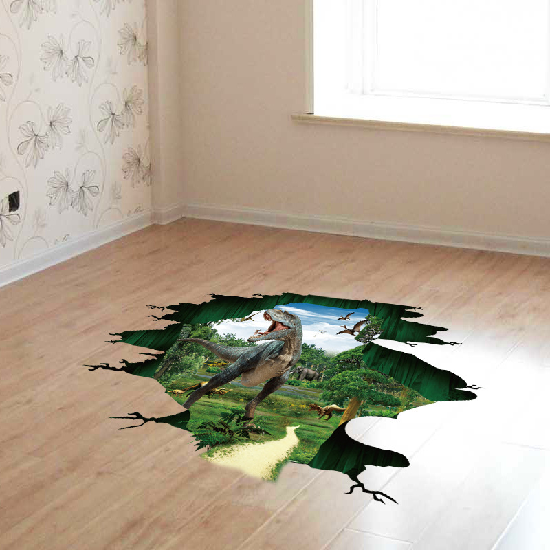 3D Dinosaur Paradise Jurassic World Kindergarten Wall Stickers PVC Removable Stereo Stickers 60*90CM