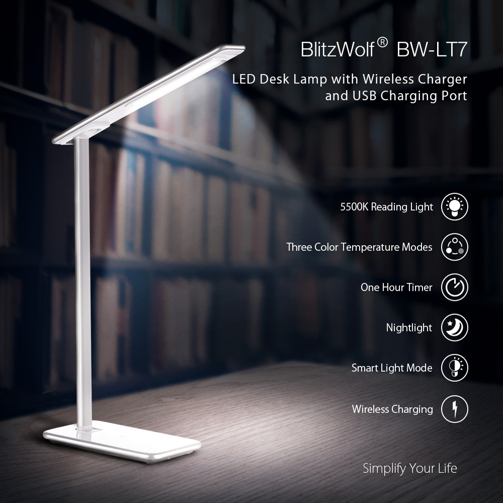BlitzWolf® BW-LT7 Smart LED Desk Lamp with Qi Wireless Charger Five Brightness Modes Three Color Temperature Adjustments Gentle Night-light Mode