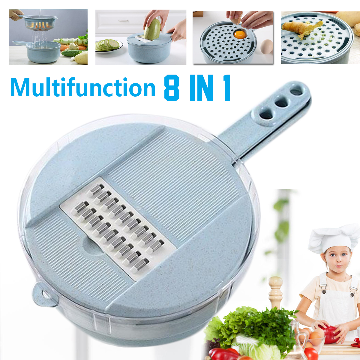 Multifunction 8 In 1 Vegetable Fruit Slicer Chopper Drain basket Cutter Grater Fruit Slicing Tools