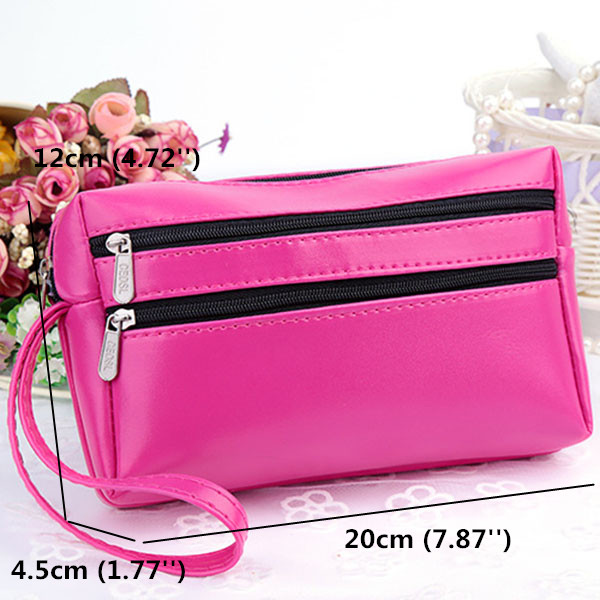 Women Candy Color Zipper Clutch Bags Casual Card Holder Phone Bags