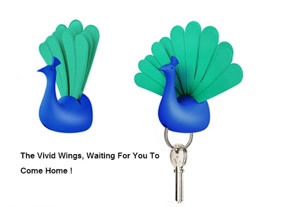 Peacock Wall Magnetic Key Holder Peacock Spread Its Wings Keychain Walls Storage