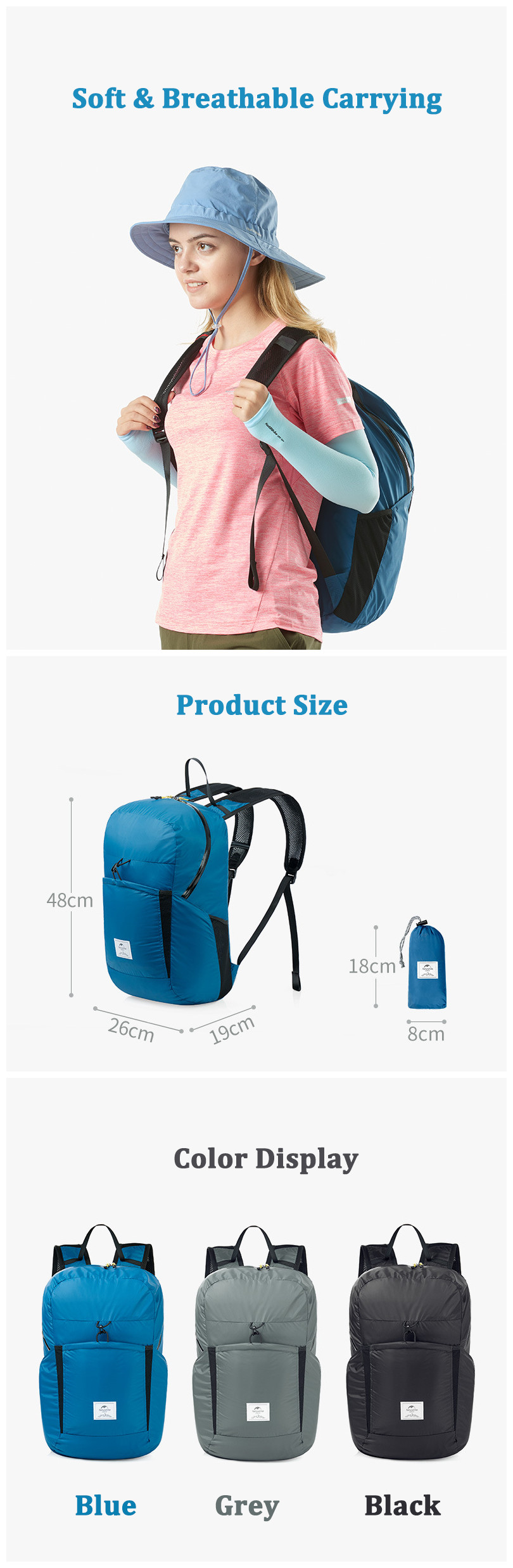Naturehike NH17A017-B 25L Folding Backpack Ultralight 2000+ Waterproof Outdoor Sports Travel Bag