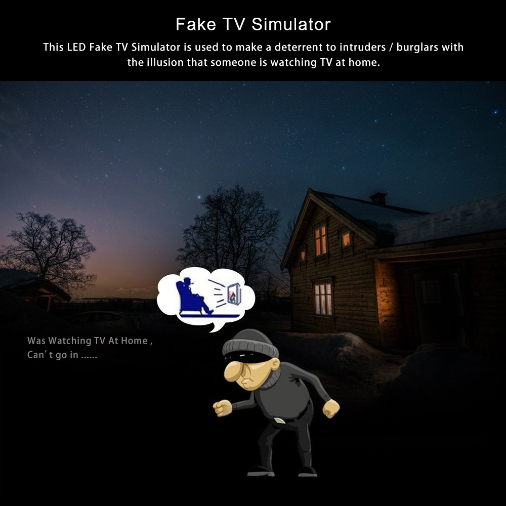 Loskii SH-20 Home Anti Burglar Anti theft Fake TV Simulator with Timer and Light Sensor LED Light Alarm System