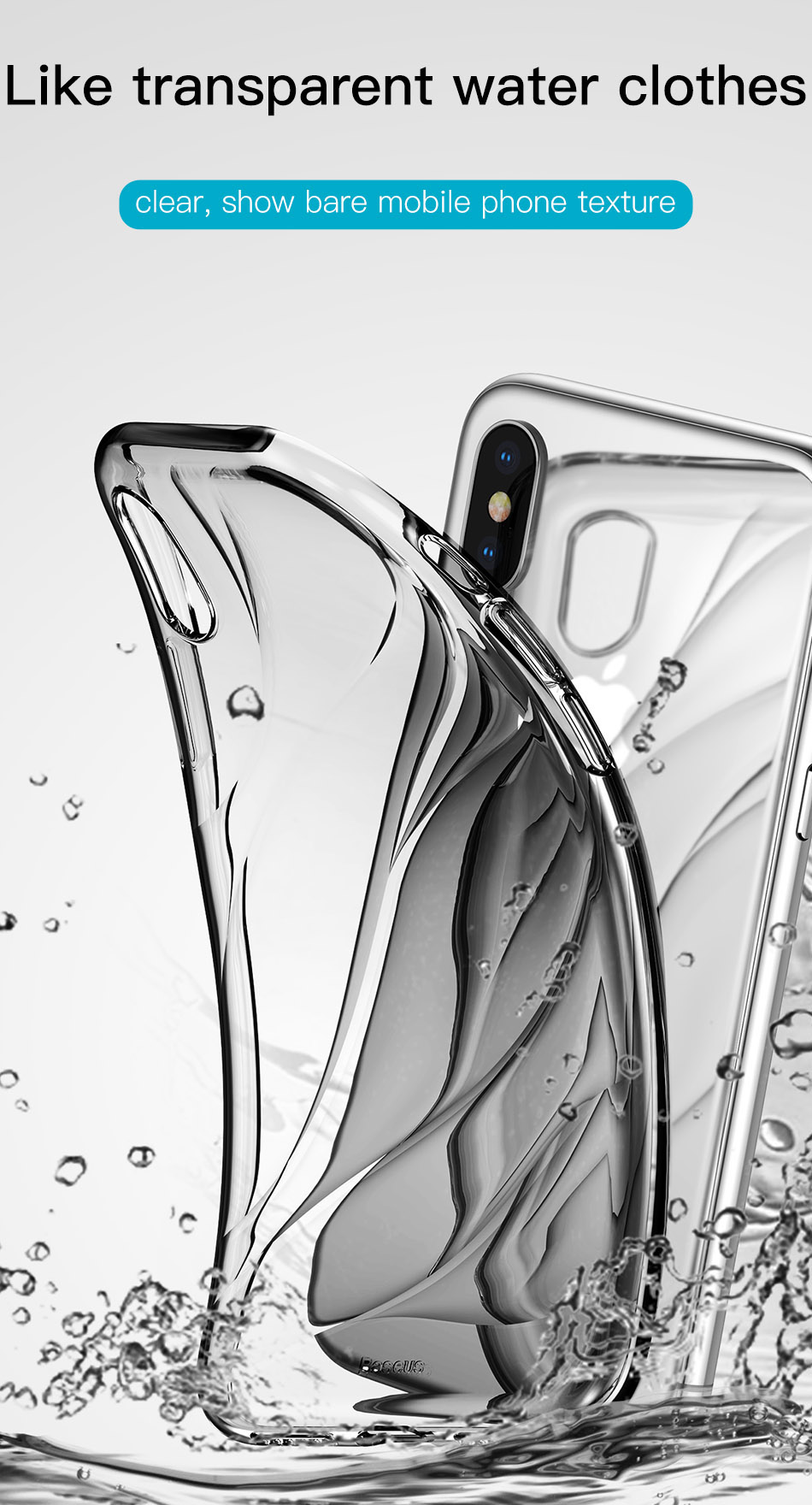 Baseus Water Model Transparent Soft TPU Protective Case for iPhone X