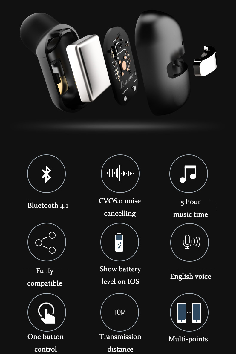 LUSENCE Solo Stealth Mini Wireless bluetooth Earphone Headphone With Magnetic USB Charger