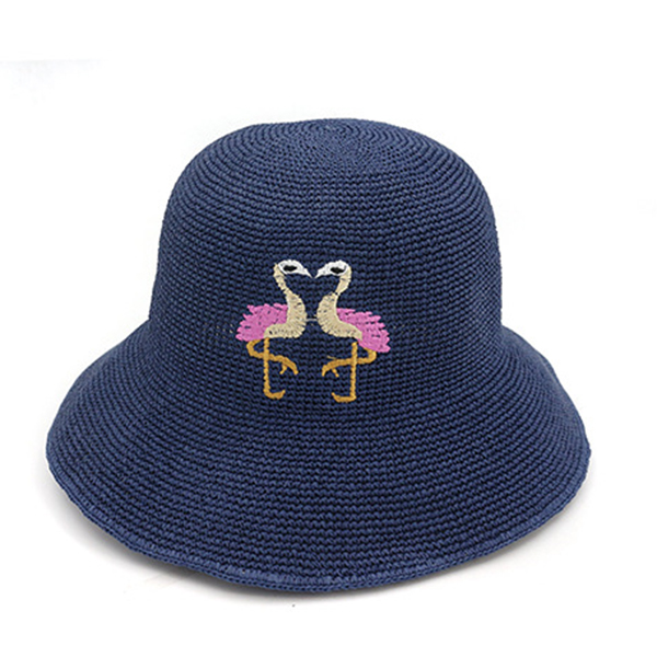 Women Folding Woven Hollow Out Bucket Hat Beach Visor