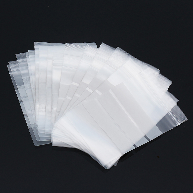 100Pcs 8x12cm Reclosable Ziplock Bag with Writing Panels PE Self Adhesive Seal Ring Bags