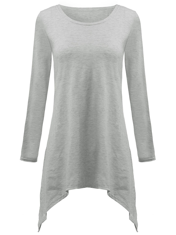 Asymmetrical Casual Gray Fishtail Hem Long Sleeve Cotton Loose Women T-Shirt