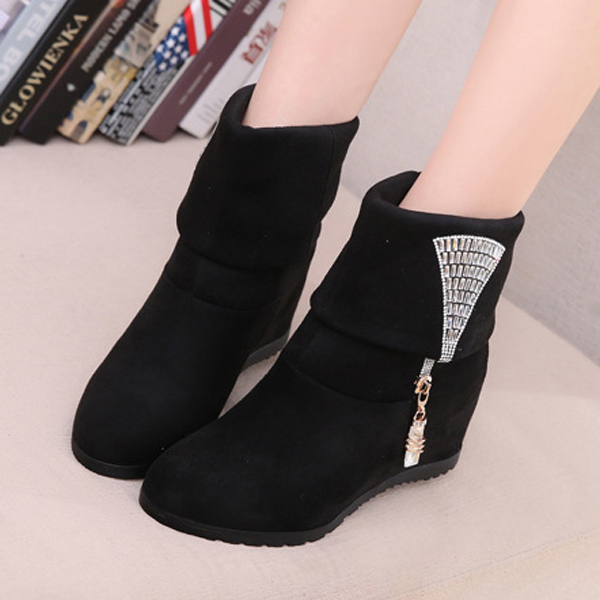 Women Short Boots Suede Slip On High Heel Crystal Casual Outdoor Shoes