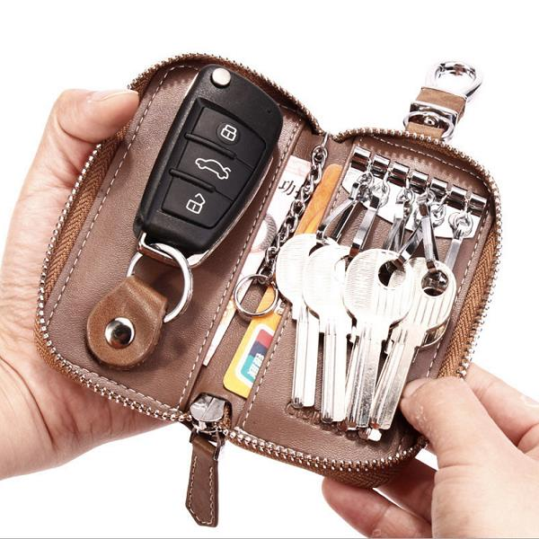 Women Men's Leather Car Key Bag Wallet Car Housekeeper
