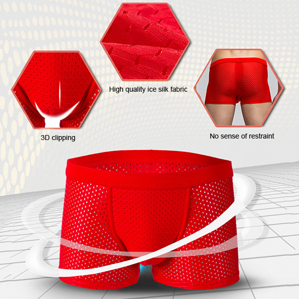 Mens Sexy Mesh Breathable Ice Silk Underpants U-shaped Convex Pouch Mid-rise Solid Color Underwear