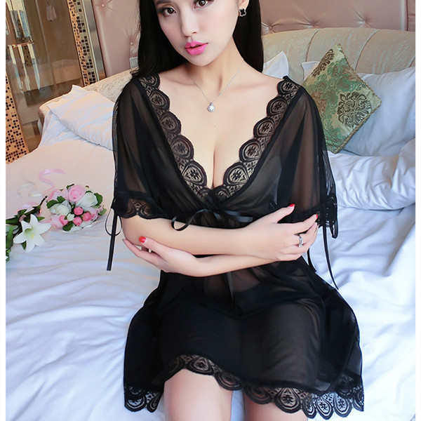 Sexy Woman See-through Lace Temptation Straps Half Sleeve Nightgown G String