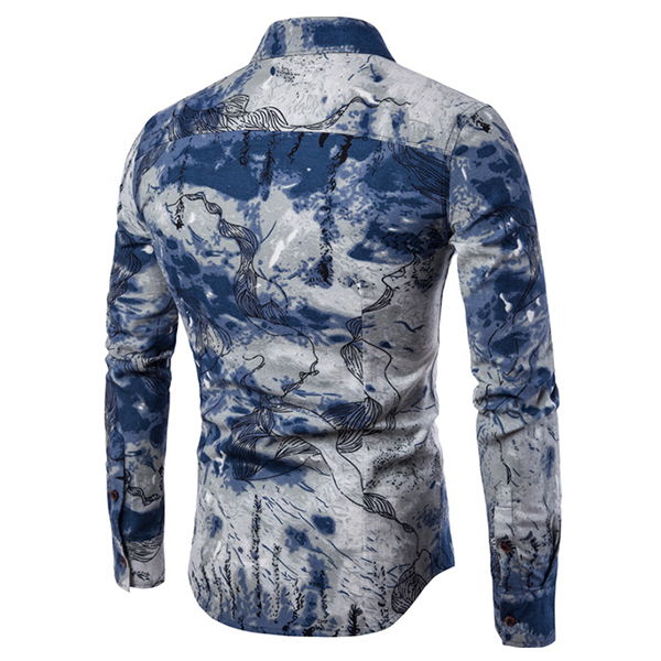 Mens National Style Travel Linen Printing Casual Shirt