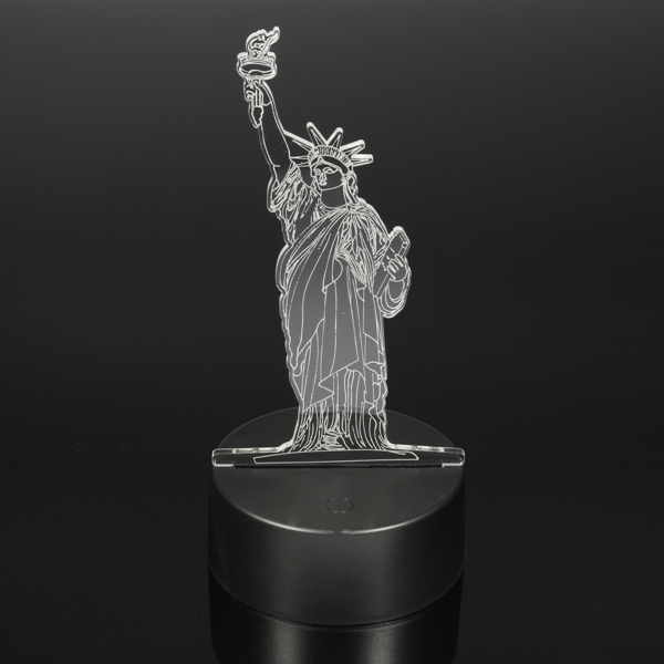 3D New York City Statue of Liberty Touch Remote 7 Color Changing LED Table Night Lamp Light Gift
