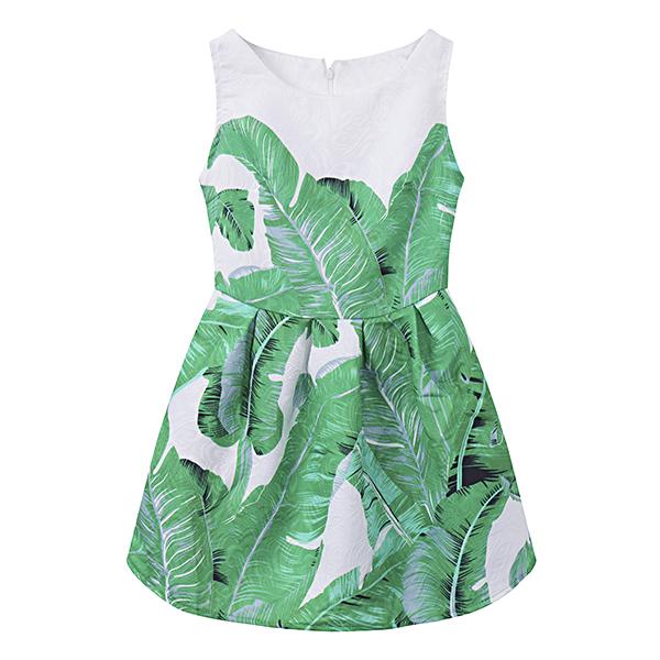 Kid Girls Leaf Printed Sleeveless Princess Dress