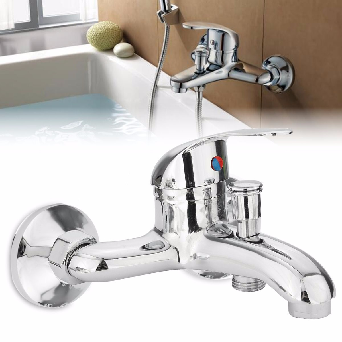 Chrome Bathroom Mixer Faucet Tap Bathtub Shower Head Hot Cold Mixing Vavle Knob Spout Wall Mount