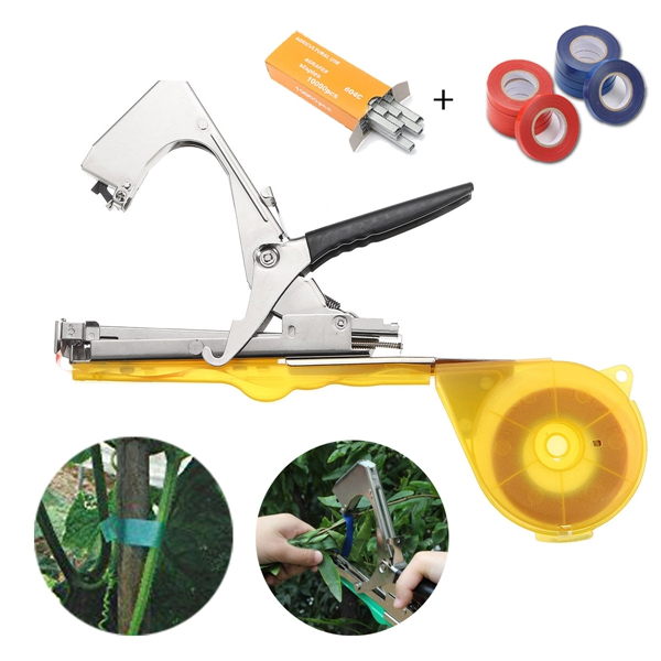 Yellow Metal Hand Tool Tie Stapler Vine Branch Tying Tape Set