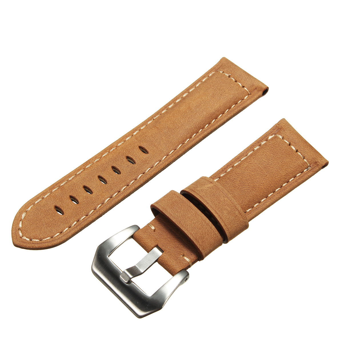Mens Leather Watch Band Strap 22 24mm Dark / Light Brown for Panerai iWatch