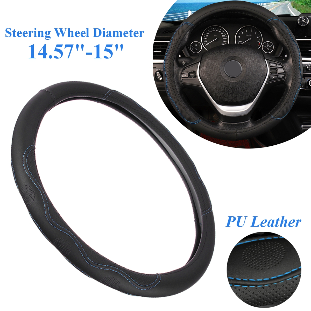 37-38cm Car Steering Wheel Covers PU Leather for Toyota/Honda/Nissan/Mazda