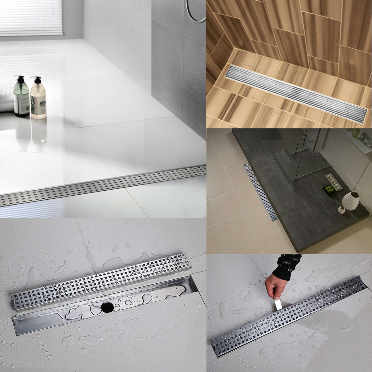 800mm 1000mm Linear Floor Drains Stainless Steel Long Shower Drains Bathroom Channel Tile Drains