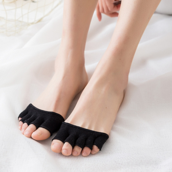 Women Summer Cotton Toe Socks Invisible Half Grip Heel Socks Breathable Sock