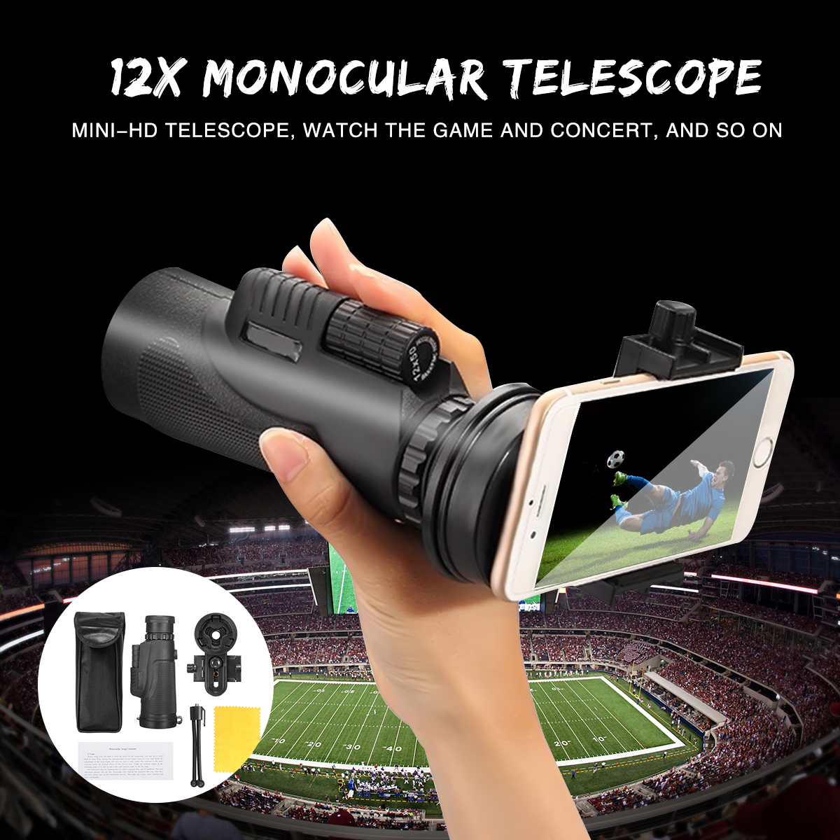 Bakeey Universal 12x50 Hiking Concert Camera Lens Zoom Monocular Phone Holder Tripod for Smartphone
