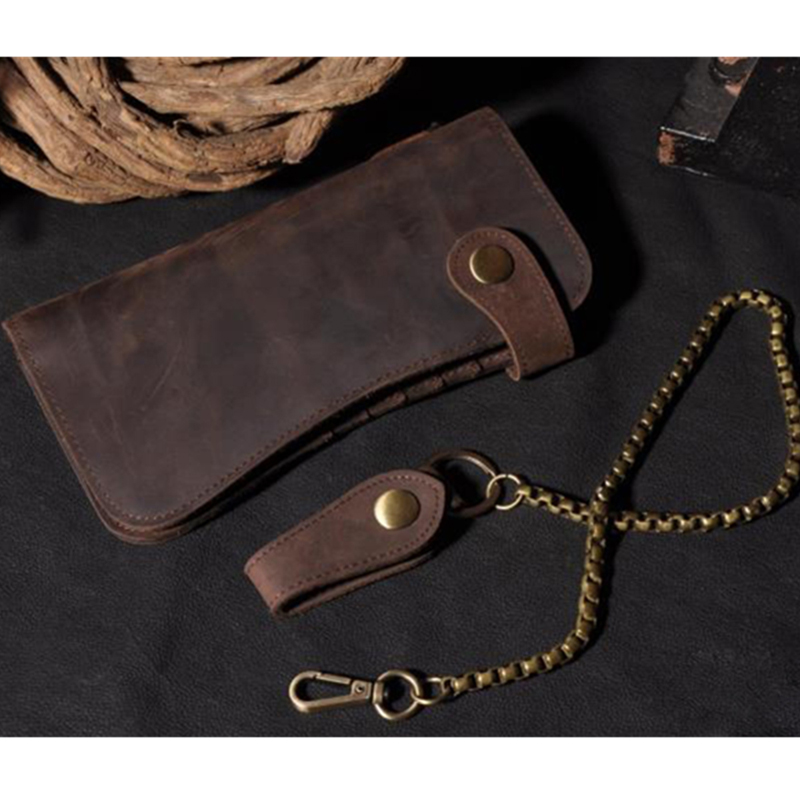 Universal Vintage Men Leather Biker Long Chain Trucker Wallet Phone Bag Card Slots Wallet for iPhone