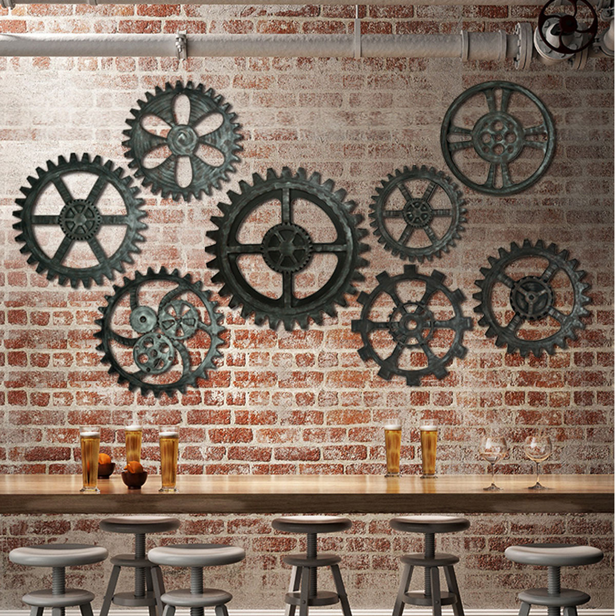 41cm Vintage Retro Gear Wall Hanging Decor Industrial Antique Art Home Bar Cafe Hotel