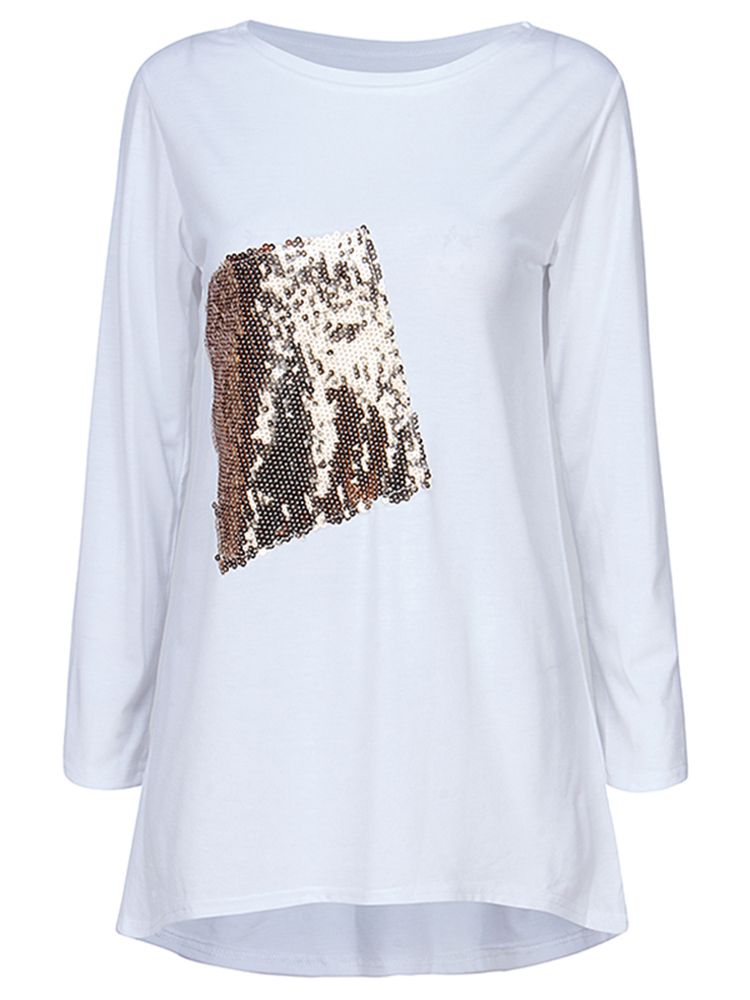 Casual O-Neck Long Sleeve Sequins Stitching Women T-shirt