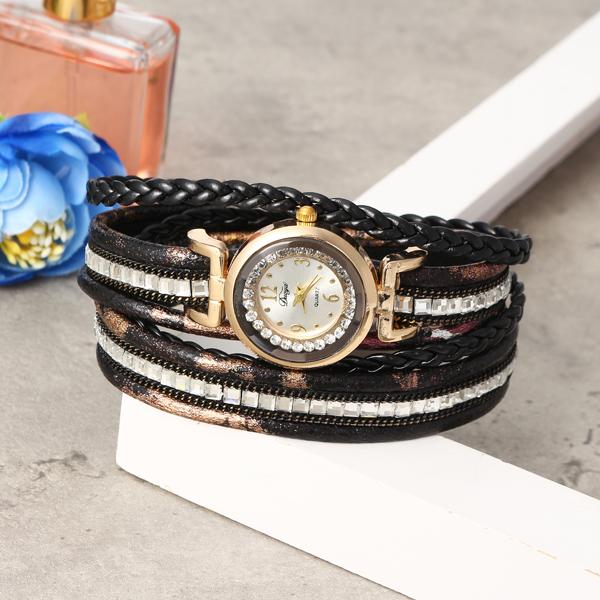 DUOYA Women Leather Bracelet Quartz Watch