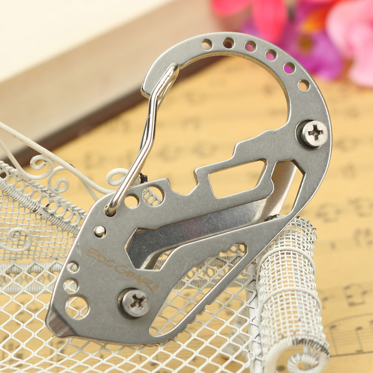 Multifunction Stainless Steel Portable Key Chain Holder Carabiner Wrench EDC Outdoor Tool