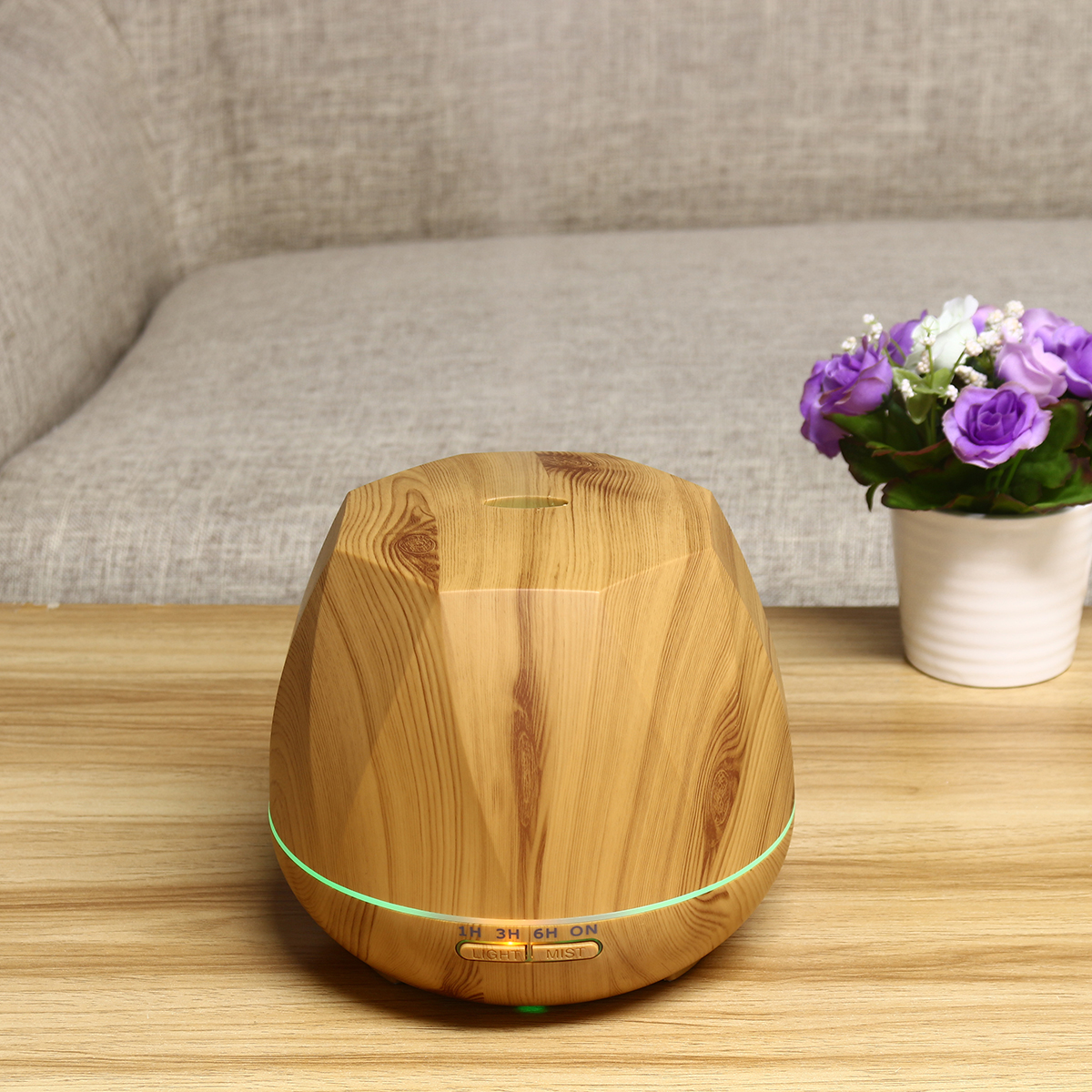 Wood Grain Ultrasonic Air Humidifier Aroma Remove Control