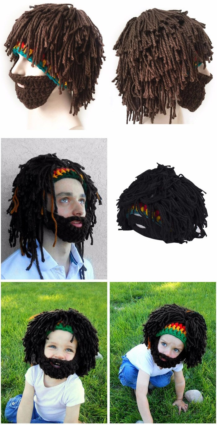 Halloween Beard Hair Shape Woolen Knitted Hat Spoof Whiskers Hat Adult Children