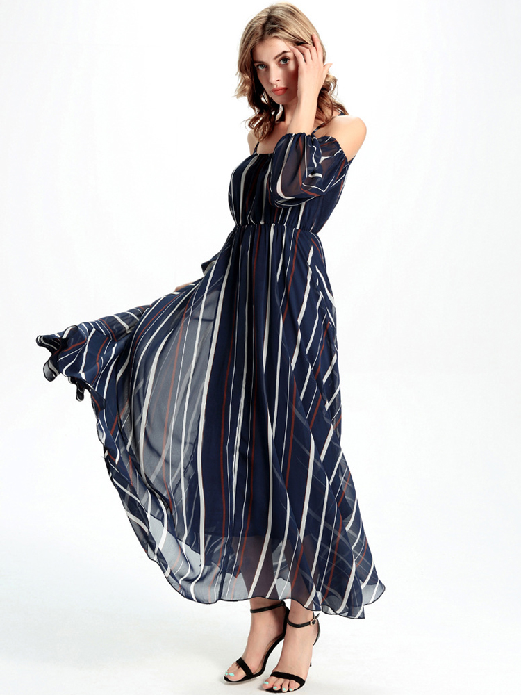 Casual Women Chiffon Off Shoulder Stripe Loose Maxi Dress