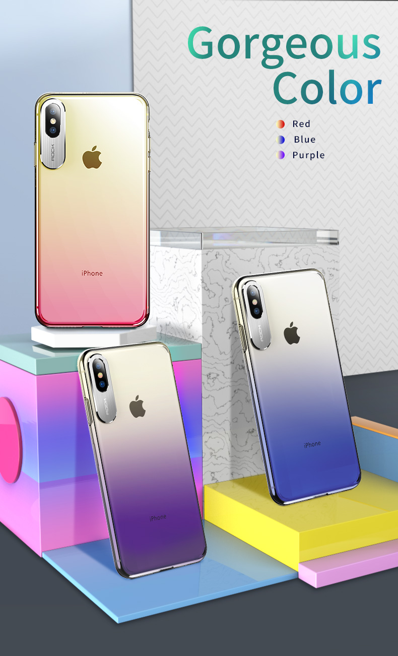 Rock Slim Gradient Protective Case For iPhone XS Max Camera Lens Protective Back Cover
