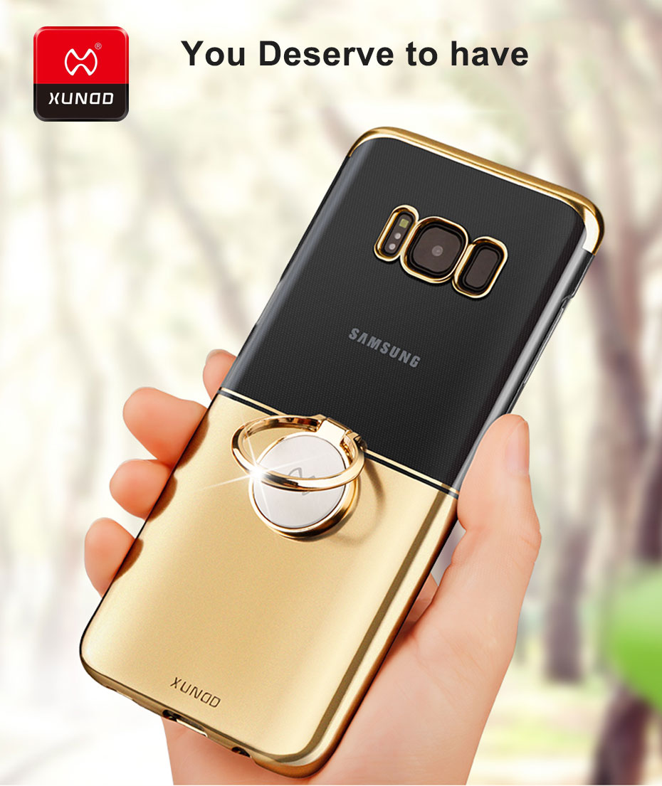 Xundd Metal Ring Holder Two-colors HD Plating Hard PC Protective Case for Samsung Galaxy S8/S8 Plus