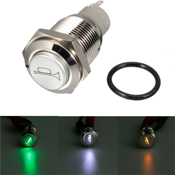 12V 16mm Car Boat LED Light Momentary Horn Button Switch 3 Color
