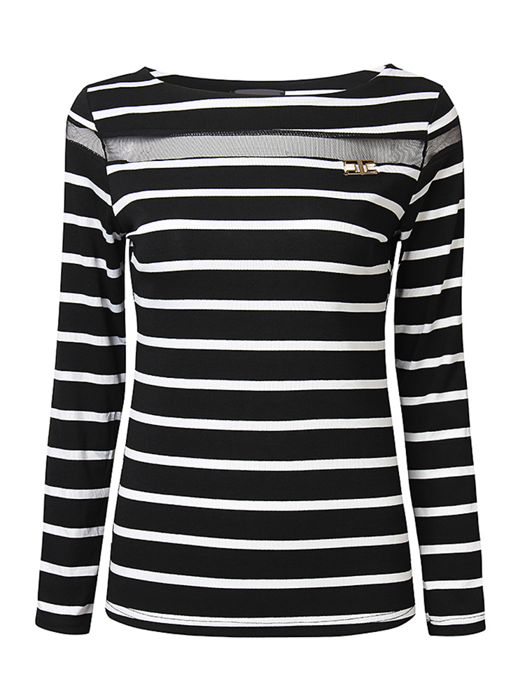 Casual Women Stripe Patchwork Gauze Long Sleeve Slim T-Shirt