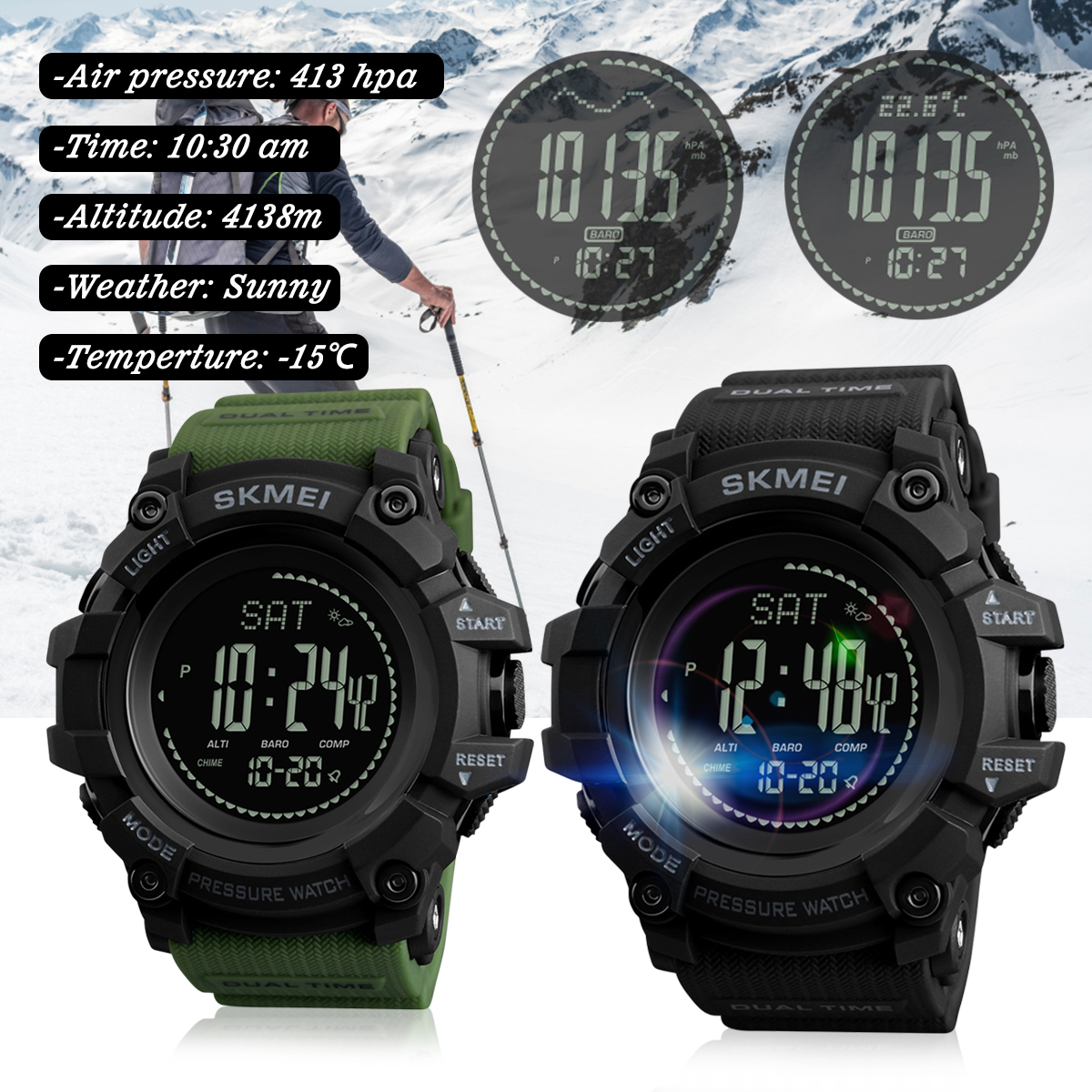 SKMEI 1358 3ATM Waterproof Smart Watch Pedometer Barometer Thermometer Altimeter Compass Outdoor Climbing Smart Bracelet